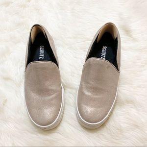 Schutz Matte Gold Slippers